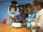 Celebrating birthday at Come & See Youth Group