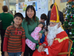 Saint Nicolas visits at Christmas time